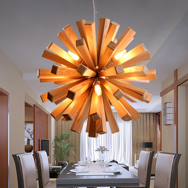 Nordic style wooden chandelier modern personalized decoration simple ...