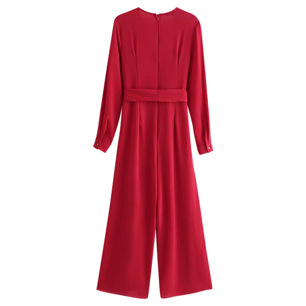 57e798f785dc VESTLINDA Jumpsuit Plunge Neck Long Sleeve Belted High Slit Solid Wine Red Women  Jumpsuit 2018 Fashion Rompers Female Overalls-in Jumpsuits from Women s ...