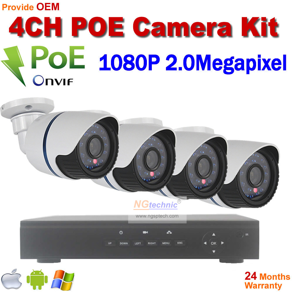4CH Onvif Full HD 48V Real PoE 80-100m NVR Kits With HD 1080P Waterproof day night vision IR IP Cameras 2.0mp P2P Cloud Service 2014 sale 4ch onvif full hd 48v real poe 80 100m nvr kits with 720p varifocal 2 8 12mm lens ip cameras p2p cloud service