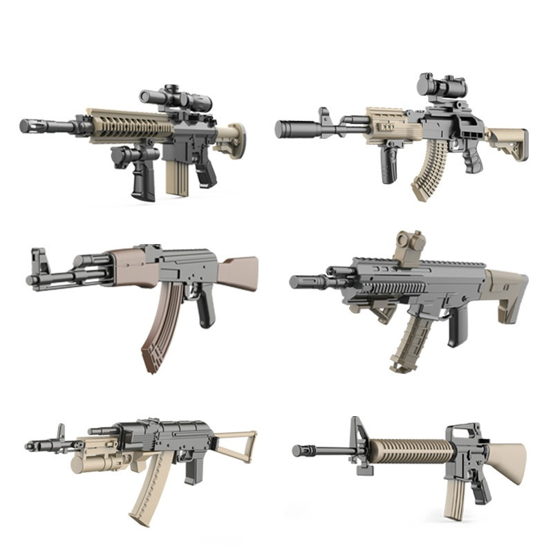 6pcs Gun Model MILITARY Assemble Weapon Sniper Assault Rifle CS AK47 SVD M4A1 ACR SWAT Building Blocks Bricks Toys Boys Children цена 2017
