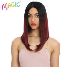 MAGIC Hair 18Heat Resistant Fiber Synthetic Wig Red Black Color Silk Straight Lace Front Wigs for Women
