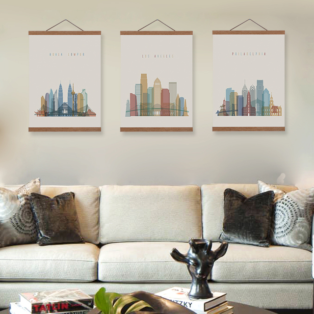 Abstract City London Moscow New York Wooden Framed Canvas Paintings ...