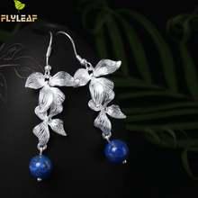 Женские серьги подвески flyleaf из серебра 100% пробы с синим