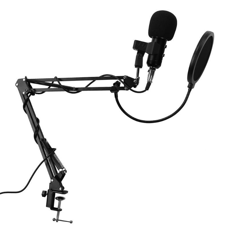 Alloyseed BM-300 USB Wired Condenser Microphone Studio Karaoke Noise Reduction Mic for Computer Video Recording best quality yarmee multi functional condenser studio recording microphone xlr mic yr01