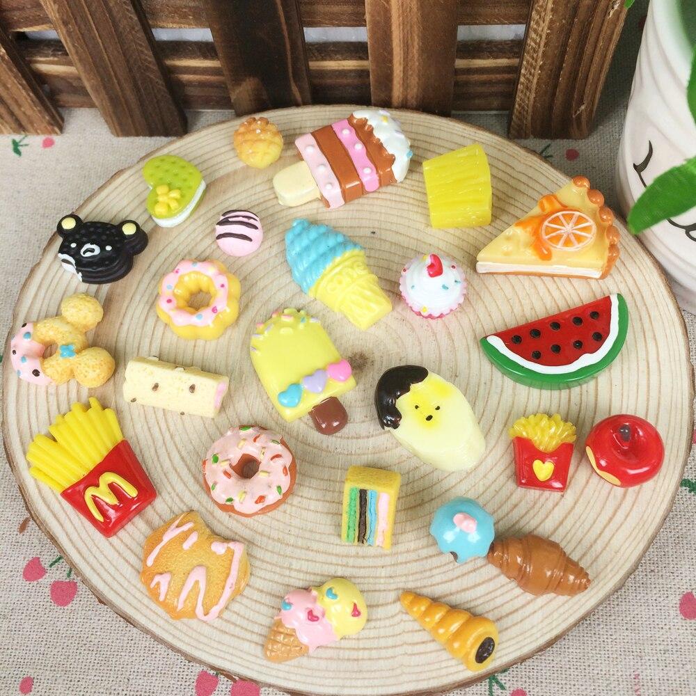 Random Mix 20Pcs Kawaii Flat Back DIY Miniature Artificial Fake font b Food b font Cake