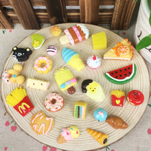 Random Mix 20Pcs Kawaii Flat Back DIY Miniature Artificial Fake Food Cake Resin Cabochon Decorative Craft Play Doll House Toy