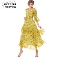 2018 neue mode frauen sommer chiffon kleid gelb