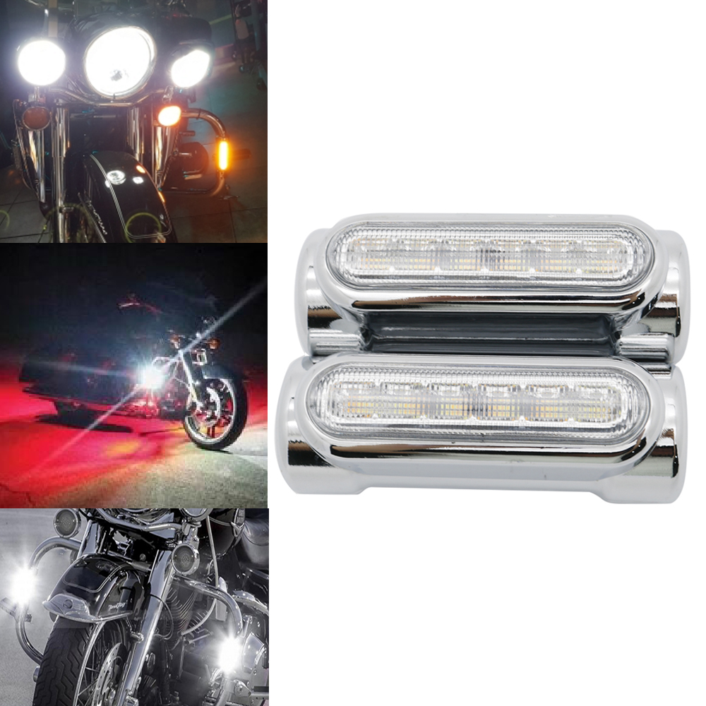 Black/chrome Motorcycle Highway Bar Switchback Turn Signal Light White Amber LED For Crash Bars For Harley Touring Models
