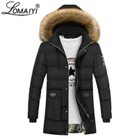 LOMAIYI Men's Winter Down Jacket Men Long Parka With Fur Hood Male Thick Cotton Padded Coat Mens Warm Windbreakers Cothes BM209