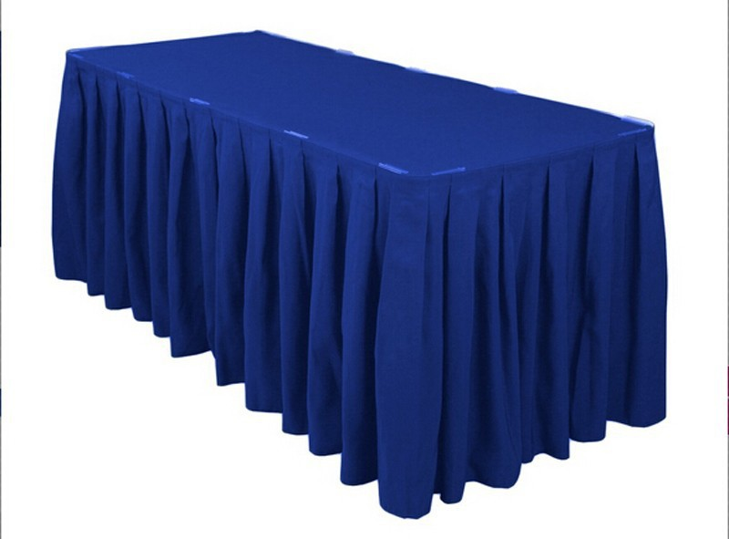 HK DHL Accordion Pleat Polyester Rectangular 500cm Table Skirt ROYAL BLUE for Wedding Ce ...