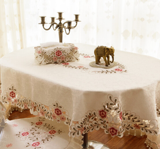 Big size Oval hand made embroidered table cloth High quality table cover chinese embroidered tablecloths wedding table cloth