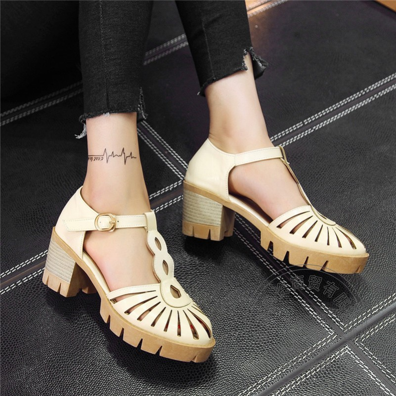 Square Heel Short Soft Leather Celebrity Fashion Shoes Plain Chunky High Heels font b Women s