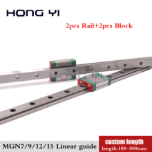 2PC MGN7C MGN7H MGN9C MGN9H MGN12C MGN12H MGN15C MGN15H Linear Rail Guide 500mm 600mm 800mm with 2PC MGN Slider