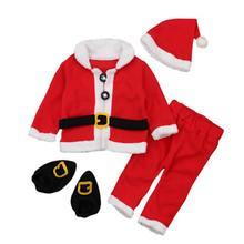 Costume Pants Outfit-Set Christmas-Tops Girls Infant Newborn Boys Hat 4PCS Socks Santa-Claus