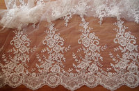 ivory cord lace fabric, sequined lace fabric with embroidered floral, 10 yards african lace fabric