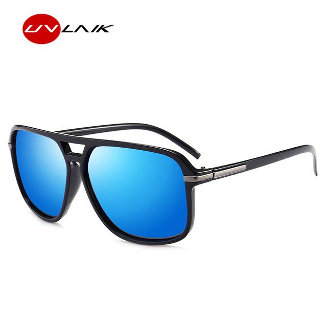 UVLAIK Polarized Sunglasses Men Oversized Square Mirror Driving Sun Glasses Brand Designer Retro Driver Sunglass UV400 Goggles