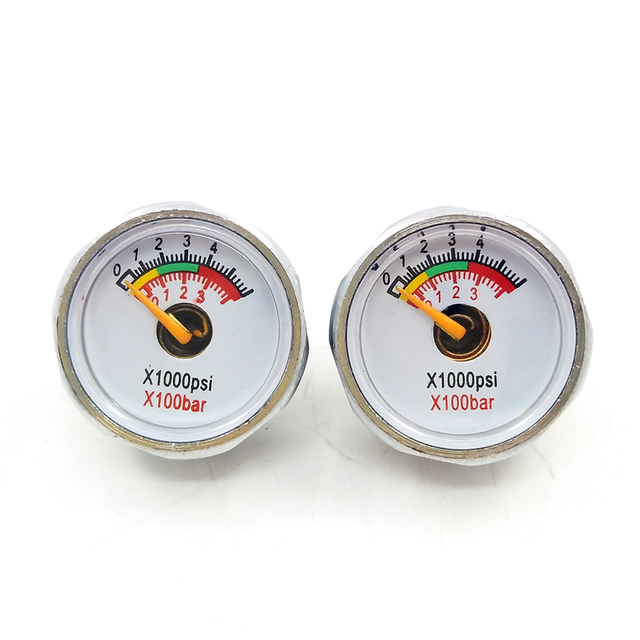 3800psi/250bar 2pcs Double Range PCP Paintball Air Pressure Gauge Mini Micro Manometer M8 threads