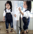 2017 girls jeans trousers children lovely boys and girls overalls  child PP pants wholesale