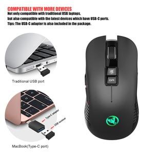 Image 5 - HXSJ nuovo wireless di ricarica del mouse 7 luce di colore 3600DPI gaming mouse senza fili del mouse USB di sostegno e di Tipo c interfaccia nero muto Mouse