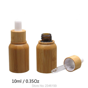 10ML 10pcs/lot Empty Bamboo Cosmetic Dropper Bottle, DIY Elegant Essential Oil Container, Bamboo+Glass Liquid Essence Bottle