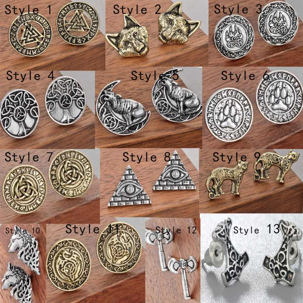 Chandler Wolf Egypt Tree Of Life Bear Paw Earring Men Viking Celti Knot Axe Pagan Stud Earrings Gothic Punk Amulet Bronics