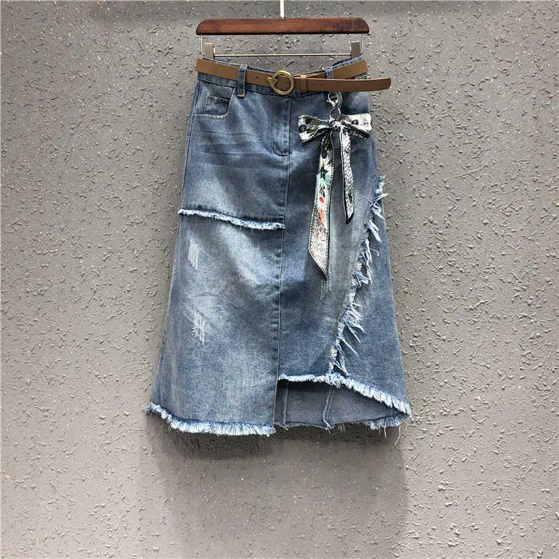 Bawełna wysokiej jakości jeansowa spódniczka letnia suczka 2019 New Fashion nieregularne brzegi spódnica asymetryczna spódnica w połowie długości spódnica damska