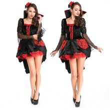 2016 Real Shot New Vampire Queen Costumes Halloween Sexy Woman Vampire Costumes Classical Vampire Cosplay Costumes Hot Sale