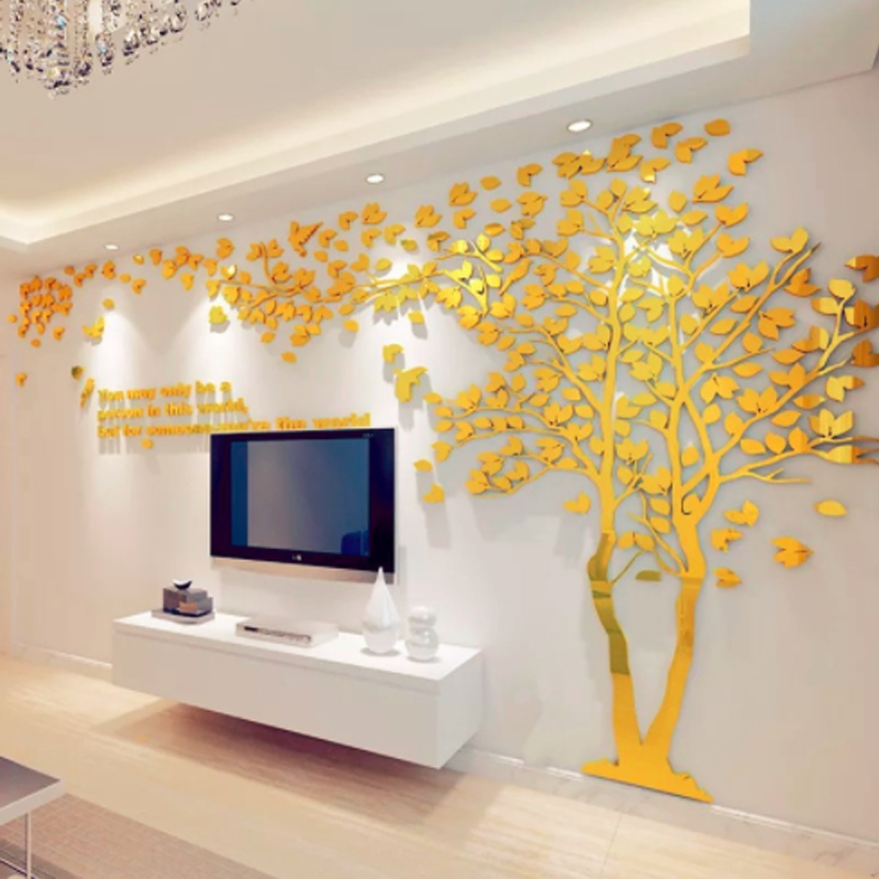 Creative Couple arbre 3D autocollant acrylique stéréo Stickers muraux décor à la maison TV toile de fond salon chambre canapé mur décoratif art