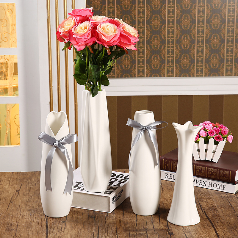 Modern Cheap Geometric Ceramic Vase Creative White Flower