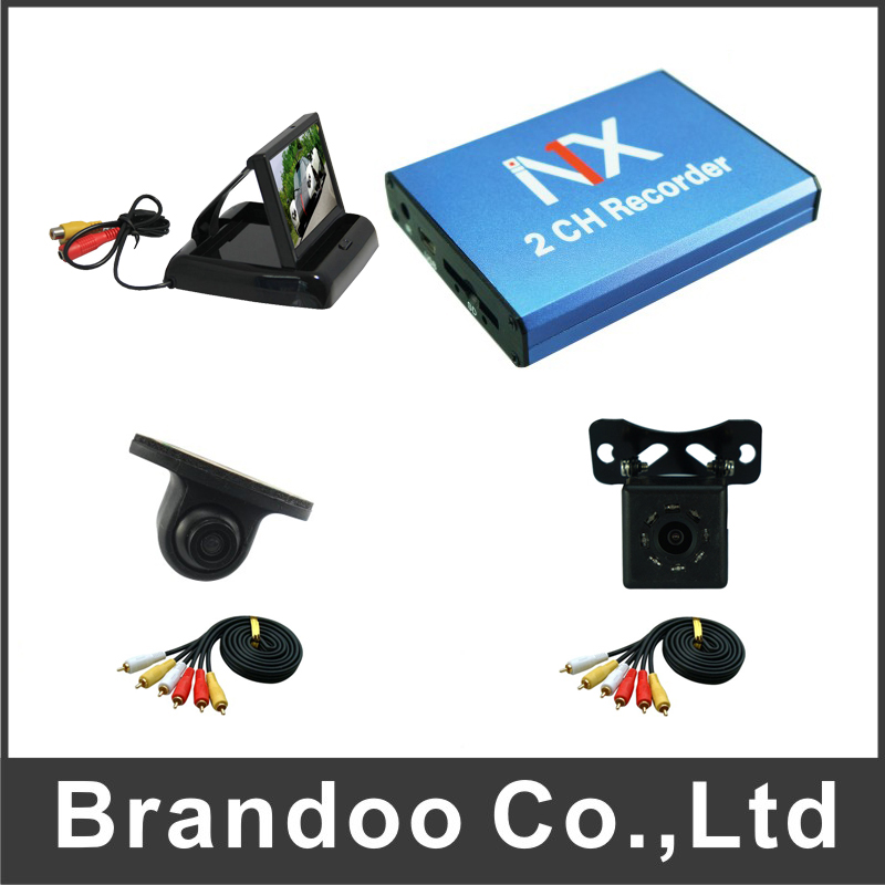 2 Channel DVR Kit With Car Camera and Monitor for Car Vehicle Taxi Bus Used russia 1 channel car dvr support 64gb taxi private car dvr for private car