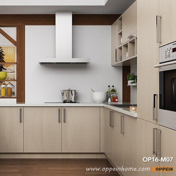 Oppein Modern Light Wood Grain Kitchen Cabinet Op16 M07 In Kitchen