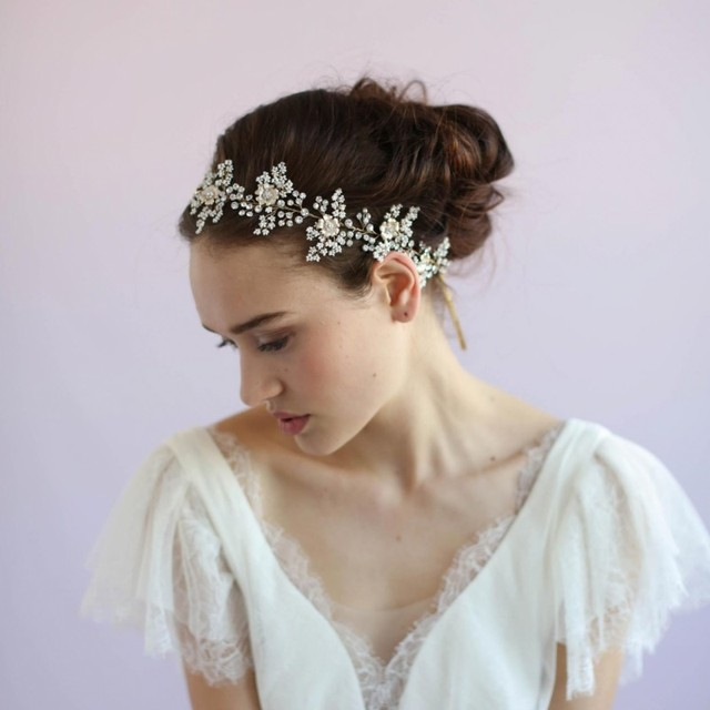 Dower me Tiny Beaded Headband Bridal Tiara Hair Vine Pearls Jewelry Gold Wedding  Hair Accessories Headpiece 4034bd85899f