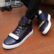 Casual Shoes 2016 High Quality Men High Top Shoes Gz Neutral Gold Cuff Zipper Shoes Moccasin Casual Black White Shoe