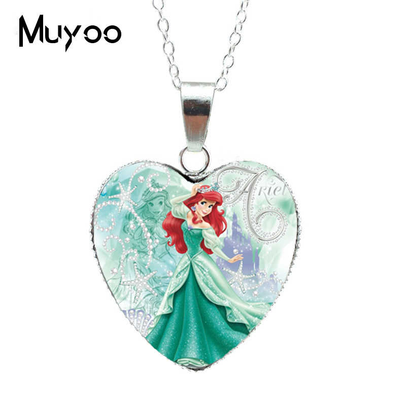 New Fashion Beautiful Princess Silver Heart Jewelry Princess Elsa Snow Queen Heart Pendants Necklace Jewelry Gift for Girl HZ3
