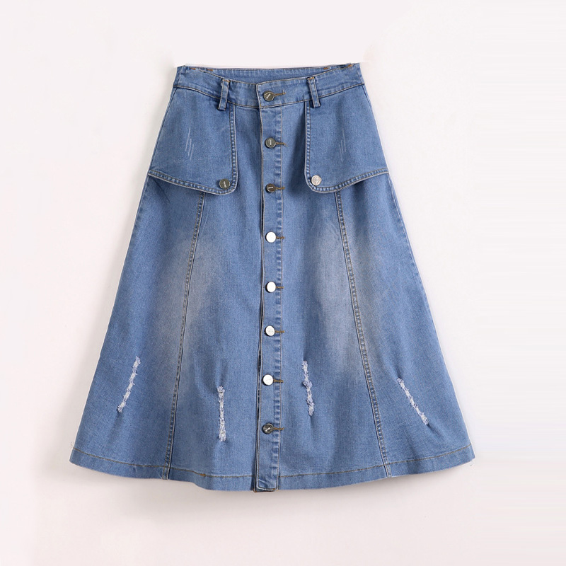 2019 Plus Size Women A-Line Denim Skirts Midi 6XL High Waist Big Size 7XL Women Denim Long Skirt Vintage Blue Saias Faldas Jupe