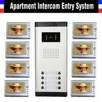 Домофон система 7 дюймов монитор видеодомофон дверной звонок комплект 8 единиц Квартира видео домофон домофонная система