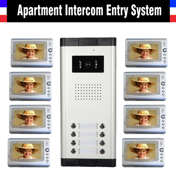 Apartment Intercom System 7 Inch Monitor Video Door Intercom Doorbell Kit 8 Units Apartment Video Door Phone interphone System apartment intercom system 7 inch monitor 6 units apartment video door phone intercom system video intercom doorbell kit