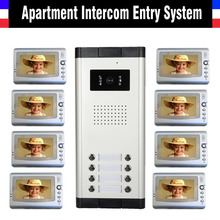 Apartment Intercom System 7 Inch Monitor Video Door Intercom Doorbell Kit 8 Units Apartment Video Door Phone interphone System