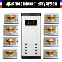 Apartment Intercom System 7 Inch Monitor Video Door Intercom Doorbell Kit 8 Units Apartment Video Door Phone interphone System