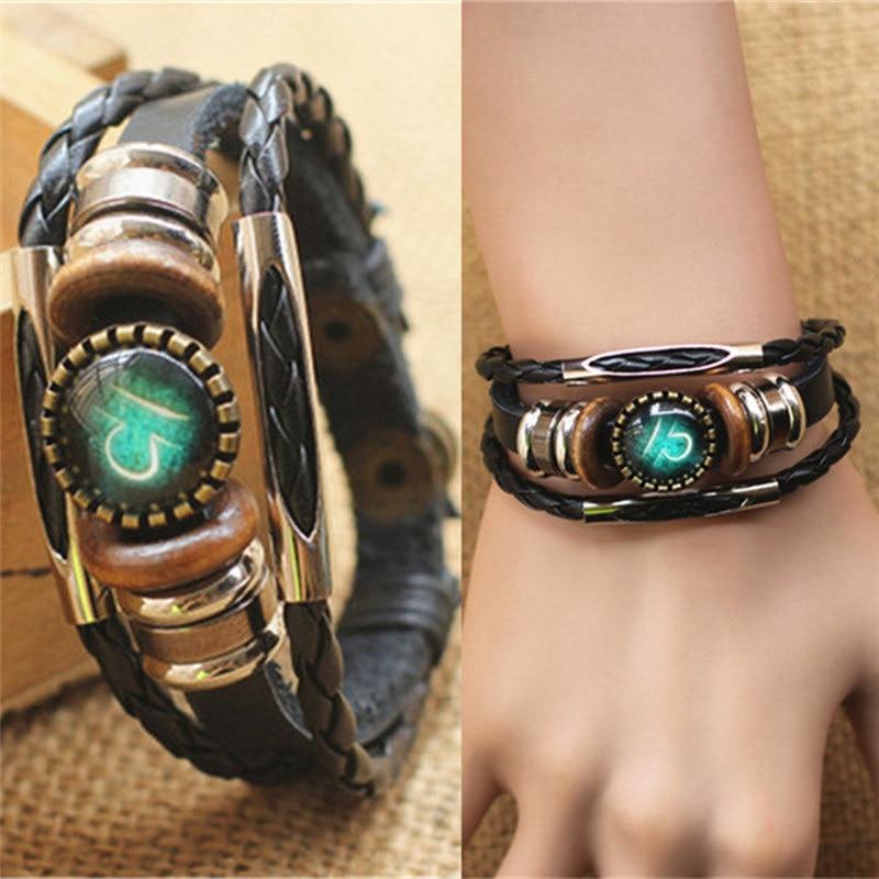 Fashion Punk Men Jewelry 12 Horoscope Leather Bracelet Retro Wooden Bead Charm Bracelet Female Male Jewelry Gifts Wholesale