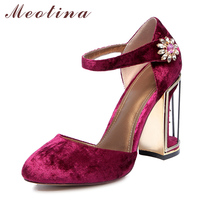 Meotina Women Shoes Thick High Heels Women Elegant Shoes Ankle Strap Lady Autumn Red Shoes Rhinestone