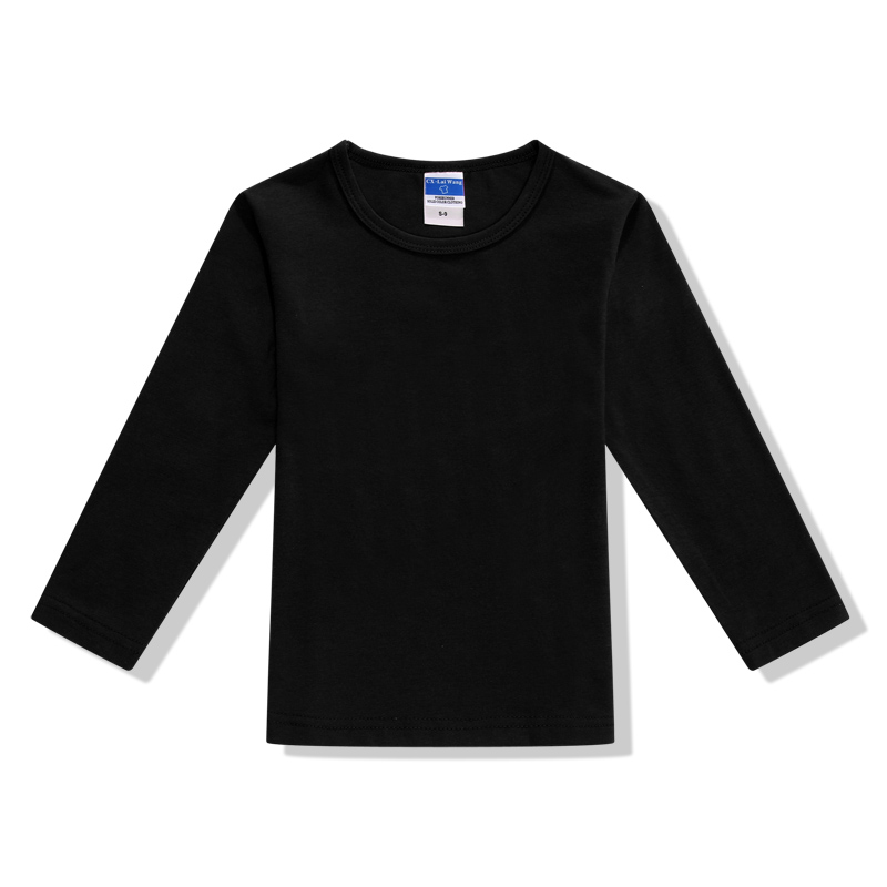 Plain Boys Girls Casual Blank T Shirt Kids Black Long