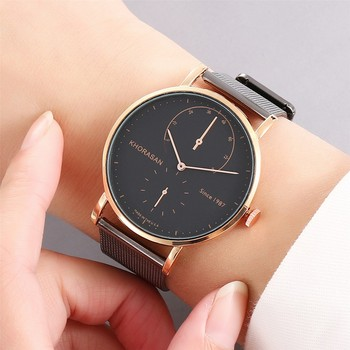 Top Brand Men Watches Fashion Stainless Steel Analog Quartz Wrist Watch Lady Mesh Band Bracelet Watch  Feminino