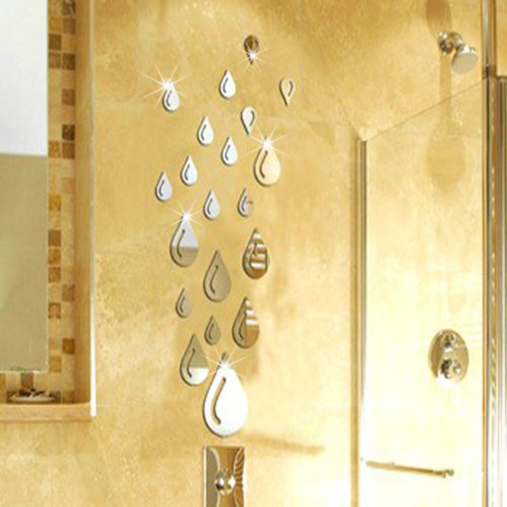 Mirror Wall Stickers droplets raindrops 3D home decor DIY bathroom ...