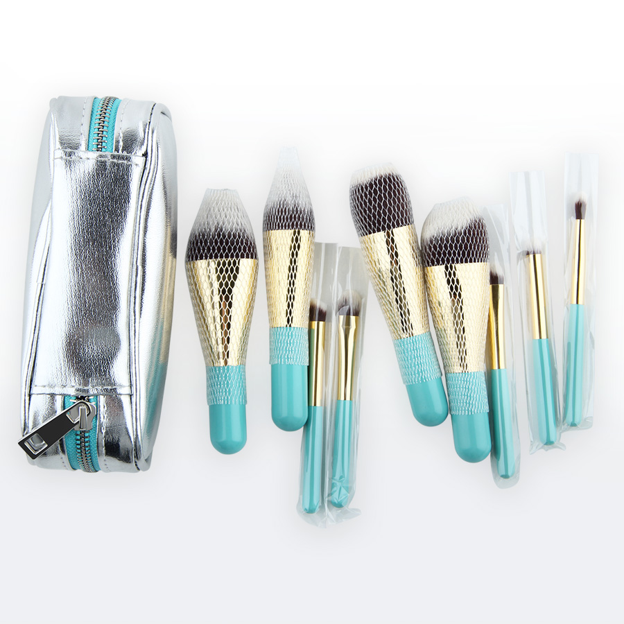 Image 4 - Anmor Hot Sale 9 Pieces Synthetic Hair Makeup Brushes with Sliver Color Bag Beautiful Traveling Makeup Brush Set B001-in Eye Shadow Applicator from Beauty & Health