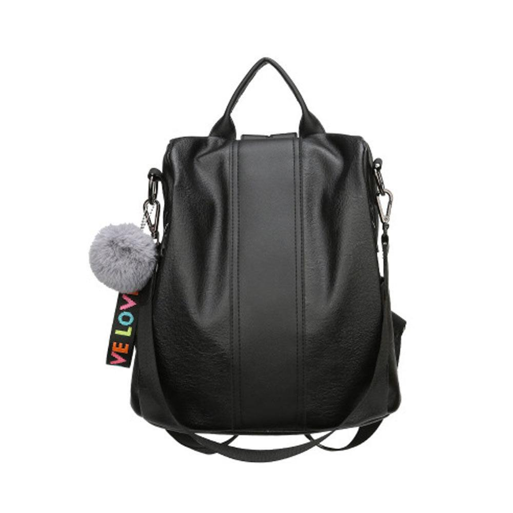 Women's Trend Backpack PU Leather Fashion Solid Color Large Capacity Shoulder Bag