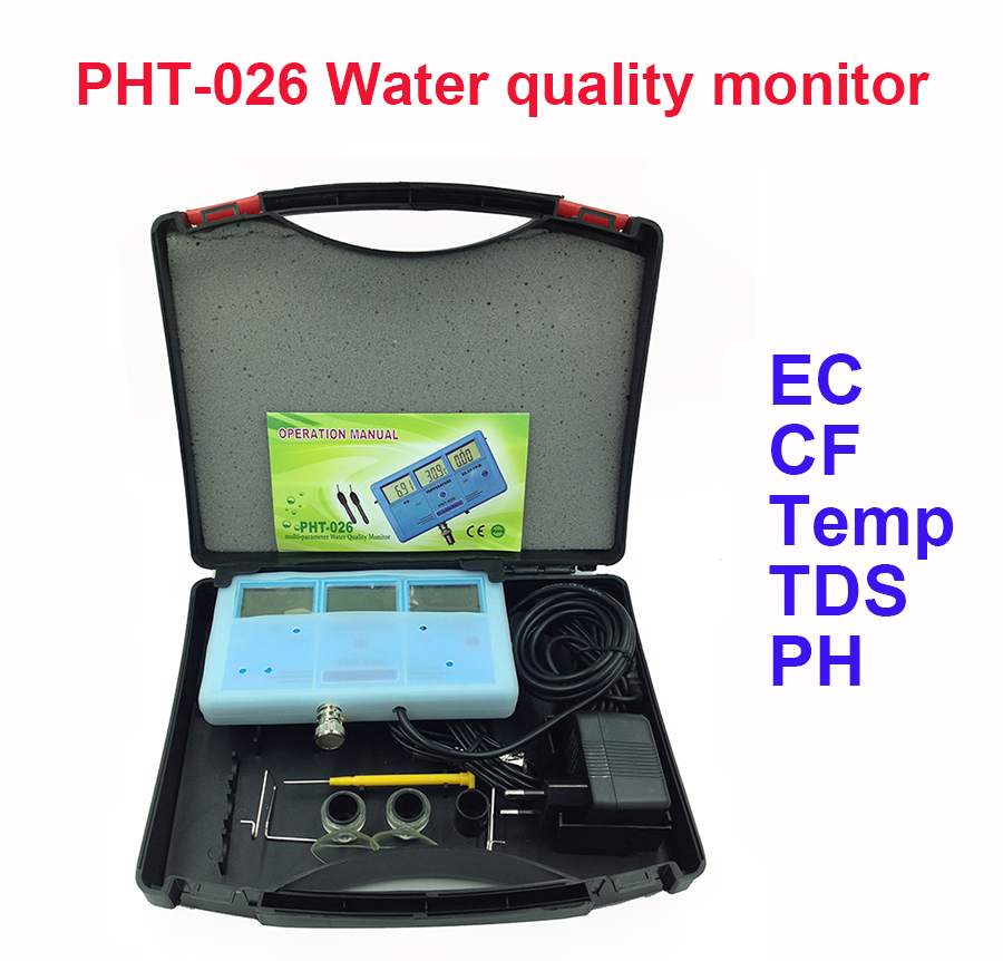 PHT-026 6-in-1 Multi-Function Water Quality Meter Tester EC CF TDS PH degree C and F + Built-in Rechargeable Battery
