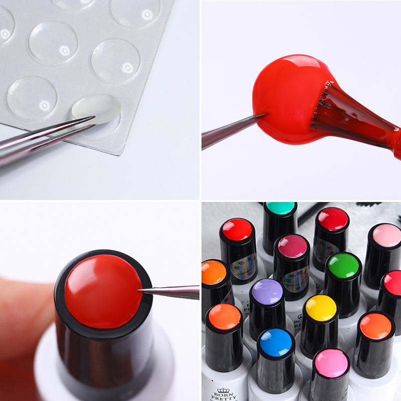BORN PRETTY 25Pcs Transparent Nail Button Sticker For Gel Display Adhesive Silicone Paster Button Label Manicure Nail Tool