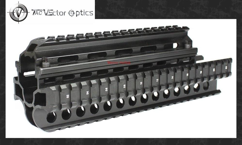 Vector Optics Tactical SAIGA 7.62x39 Handguard Quad Picatinny Rail Hunting Gun Mount System Full Metal New Black free shipping saiga12 tactical quad rail system fits saiga 12 ga and compatible variants free black rubber guards