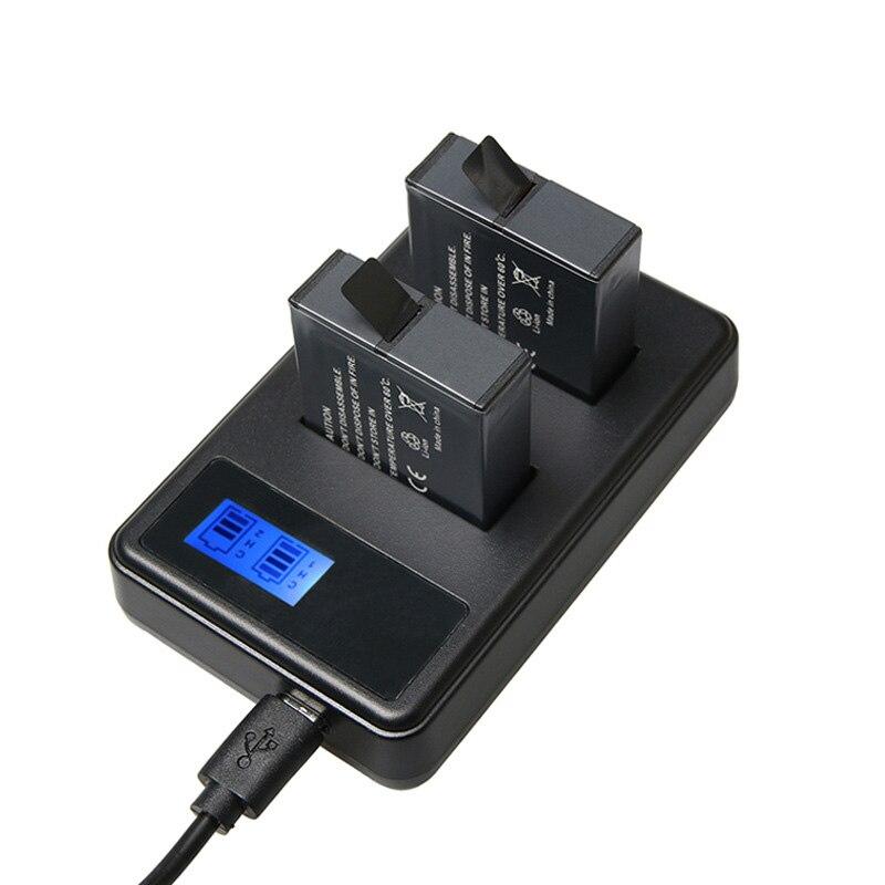 2 piezas héroe 6 7 héroe 5 + LCD Smart Display cantidad de electricidad cargador para GoPro héroe 7 5 6 negro acción Acceessories